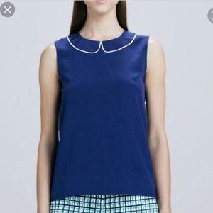 Beatrix top in navy blue silk